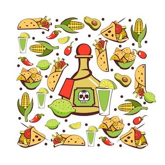 Cozinha mexicana. um conjunto de pratos mexicanos populares. comida rápida.