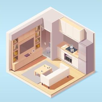 Cozinha moderna e interior da sala de estar com móveis e eletrodomésticos em estilo isométrico