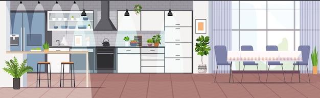 Cozinha moderna interior vazia, sem sala de pessoas