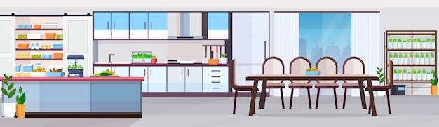 Cozinha moderna sem design de interiores de pessoas com área de refeições frutas e legumes na mesa de balcão plantas inteligentes que crescem conceito horizontal do sistema banner horizontal