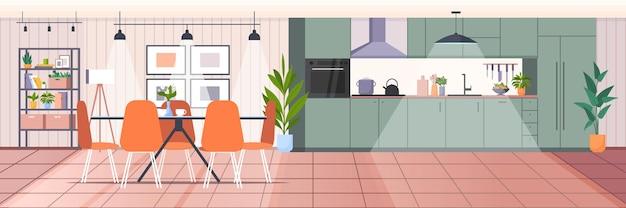 Cozinha moderna vazia, sem sala de pessoas