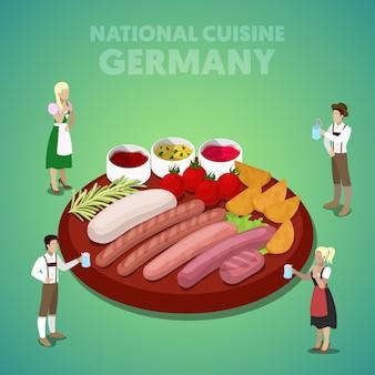 Cozinha nacional da alemanha isométrica com prato de salsicha e povos alemães em roupas tradicionais. ilustração 3d plana vetorial