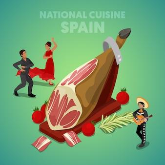 Cozinha nacional da espanha isométrica com jamon e espanhóis em roupas tradicionais. ilustração 3d plana vetorial