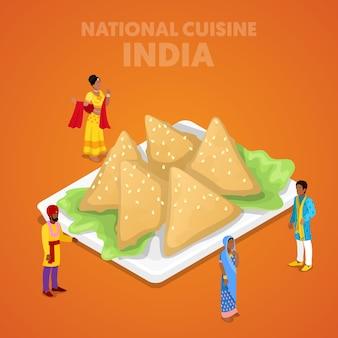Cozinha nacional da índia isométrica com comida samosa e povos indianos em roupas tradicionais. ilustração 3d plana vetorial