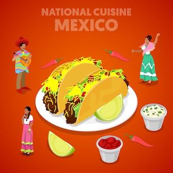 Cozinha nacional do méxico isométrica com tacos, pimenta e mexicanos em roupas tradicionais. ilustração 3d plana vetorial