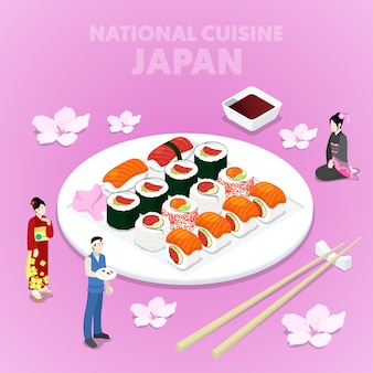 Cozinha nacional isométrica do japão com sushi e japoneses em roupas tradicionais. ilustração 3d plana vetorial