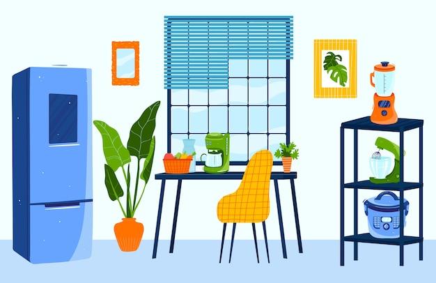 Cozinha plana de desenho animado com geladeira