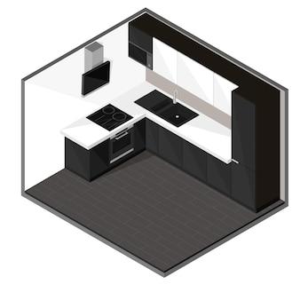 Cozinha preta em estilo isométrico.