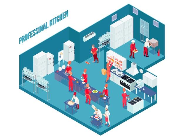 Cozinha profissional na cor azul com mobília branca cinza, equipamentos, utensílios, pessoal em uniforme isométrico