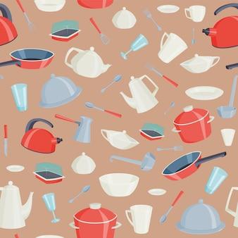 Cozinha que cozinha ferramentas o teste padrão sem emenda com ilustração do equipamento do dishware do kitchenware. pratos bule de café cafeteira panela panela colher garfo.