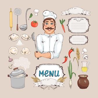 Cozinha russa. chef cook, comida, utensílios de cozinha e moldura para o menu