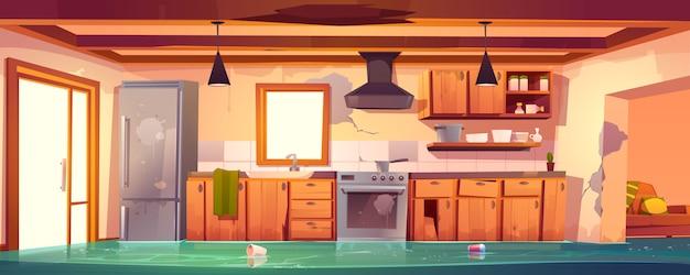Cozinha rústica inundada, interior vazio abandonado