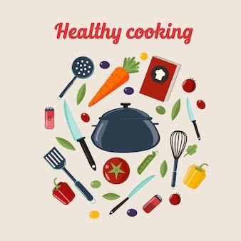 Cozinha saudável cozinhar conceito com diferentes legumes e talheres