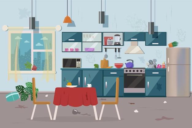 Cozinha suja e bagunçada.