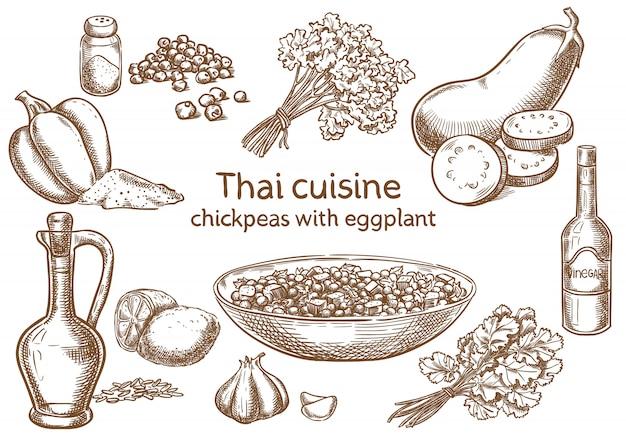 Cozinha tailandesa. grão de bico com esboço de vetor de ingredientes de berinjela.