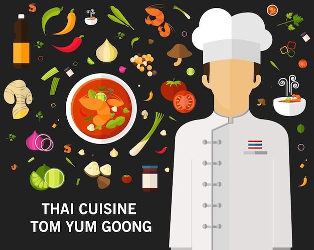 Cozinha tailandesa tom yum goong spicy conceito de sopa de camarão tailandesa