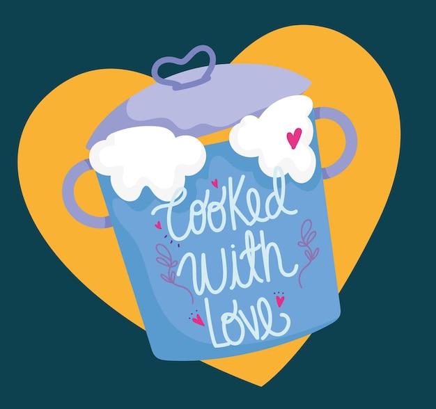 Cozinha, utensílio de panela em ilustração de letras de estilo cartoon
