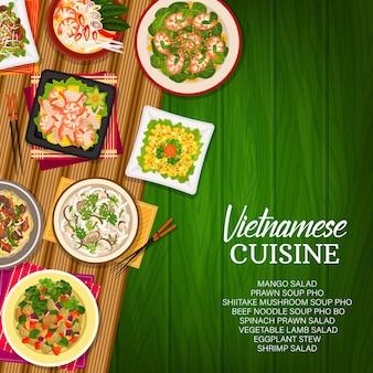 Cozinha vietnamita vector sopa de cogumelos shiitake, salada de cordeiro de vegetais e macarrão de carne pho bo. salada de camarão com espinafre, salada de manga ou camarão, guisado de berinjela e sopa de camarão. cartaz de desenho animado das refeições do vietnã