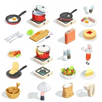 Cozinhando a coleção de ícones isométrica