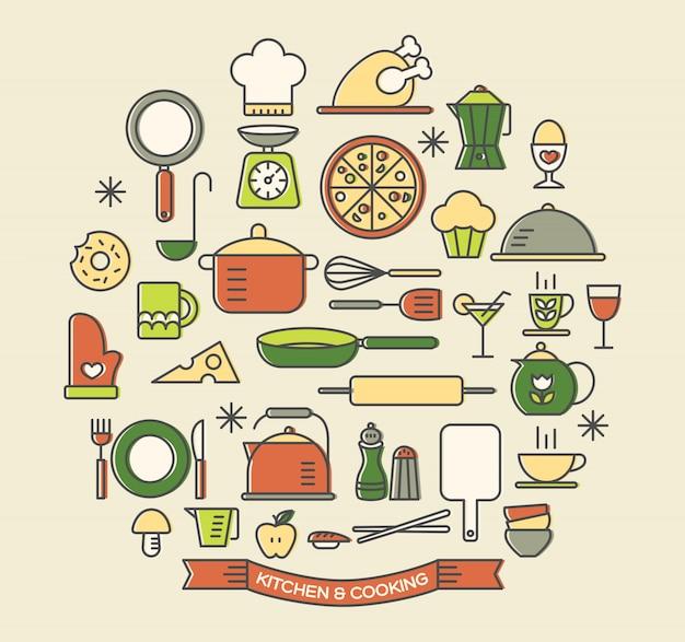 Cozinhando alimentos e cozinha conjunto de ícones de cores