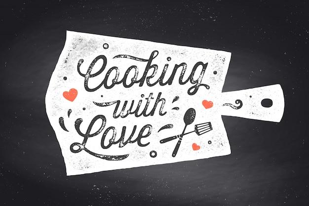 Cozinhando com amor. cartaz de cozinha. decoração da parede da cozinha, sinal, citação
