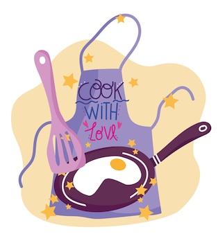 Cozinhando espátula avental e panela de ovo frito em estilo cartoon, ilustração da rotulação