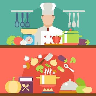Cozinhando ilustração vetorial de processo