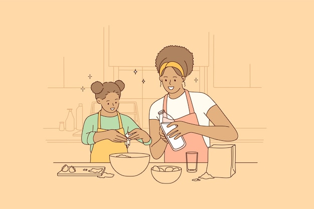 Cozinhando juntos e passando tempo com o conceito de crianças