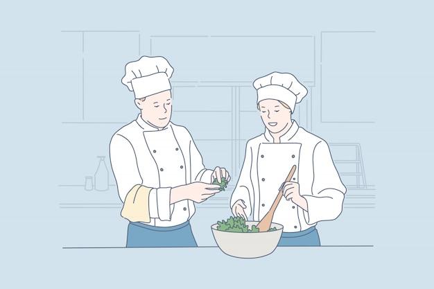 Cozinhando juntos, preparando o jantar, ilustração de gastronomia