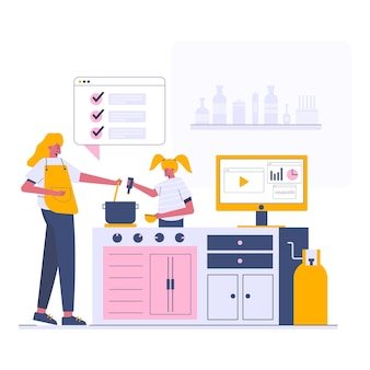 Cozinhando na cozinha, ilustração do estilo cartoon