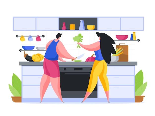 Cozinhando o jantar juntos em casa ilustração plana Vetor Premium