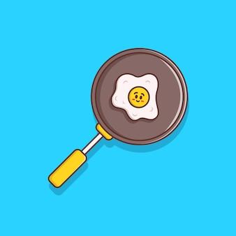 Cozinhando ovo frito ilustração em design plano