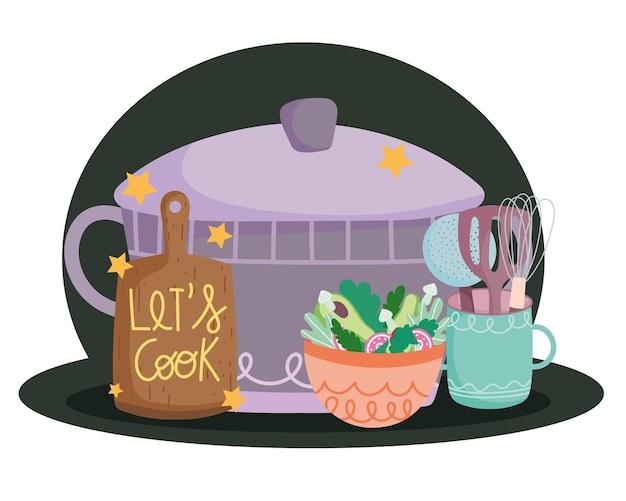 Cozinhando panelas, talheres, tábua de cortar e salada em estilo cartoon, ilustração de letras