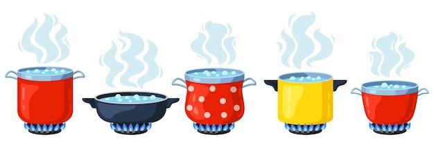 Cozinhando potes de cozinha isolados no branco