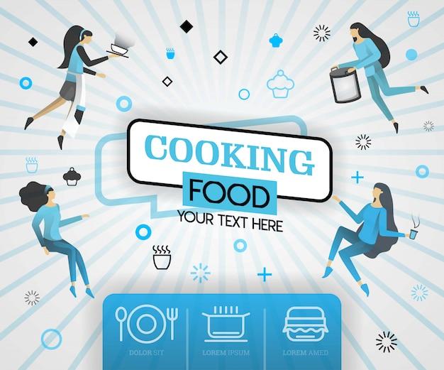 Cozinhando receitas de comida e cobertura azul