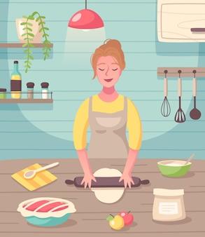 Cozinhando uma composição plana de passatempo de cozimento com uma mulher criando doces caseiros e sobremesas guloseimas