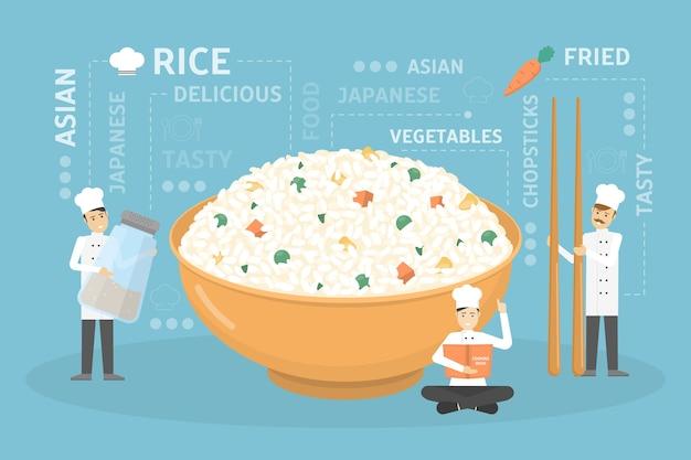 Cozinhando uma tigela de arroz gigante.