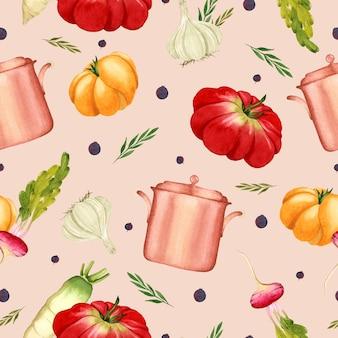 Cozinhando vegetais em aquarela sem costura padrão em fundo rosa