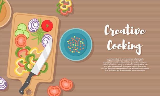 Cozinhar alimentos saudáveis na cozinha. refeição útil na mesa de madeira. alimentação saudável, legumes. ilustração da vista superior do utensílio de cozinha, tábua com faca, pratos, pratos e alimentos diferentes.