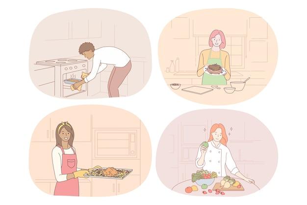 Cozinhar, assar, receita, chef, cozinheiro, conceito de comida.