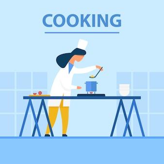 Cozinhar banner cartoon plana com chef no trabalho