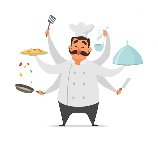 Cozinhar chef multitarefa