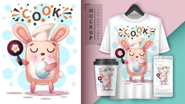 Cozinhar, coelho, ilustração