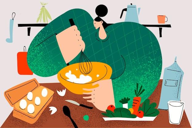 Cozinhar, cozinhar o conceito de pastelaria caseira.