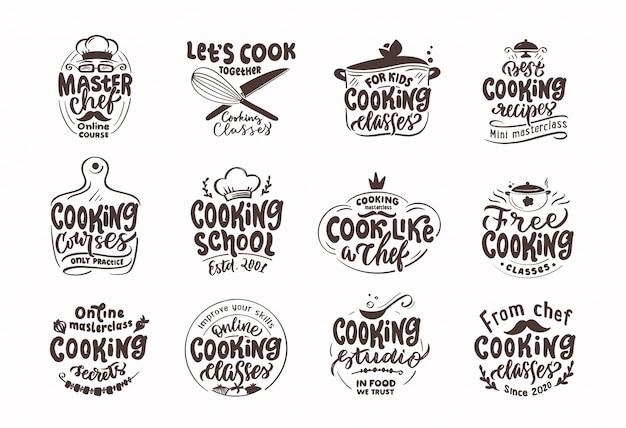 Cozinhar, cozinhar selos. conjunto de emblemas retrô vintage, etiquetas e logotipo