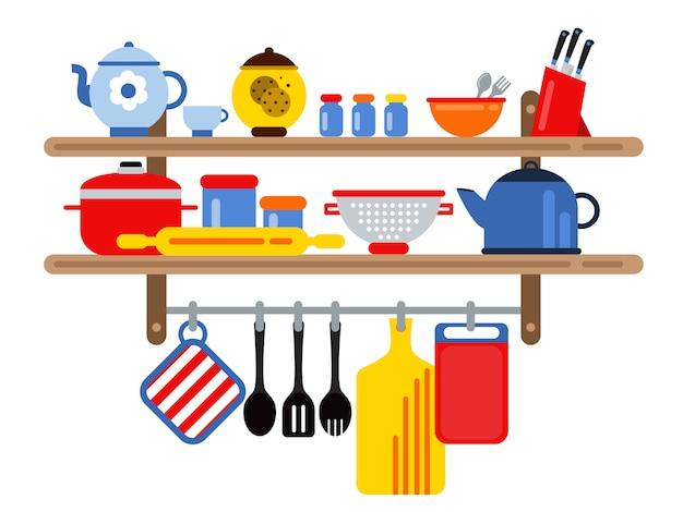 Cozinhar e restaurante equipamentos nas prateleiras da cozinha