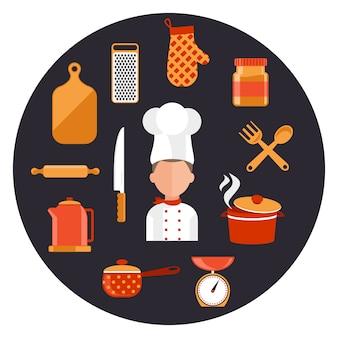 Cozinhar ferramentas e equipamentos de cozinha, servir refeições e elementos de preparação de alimentos.