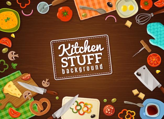 Cozinhar fundo com coisas de cozinha