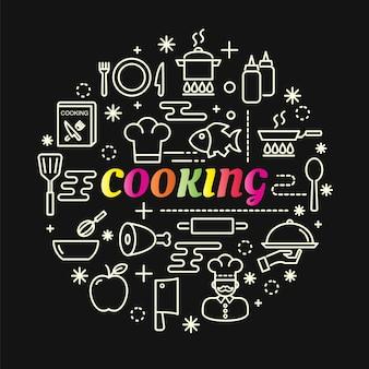 Cozinhar gradiente colorido com conjunto de ícones de linha