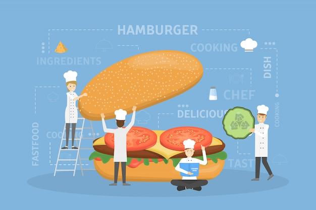 Cozinhar hambúrguer gigante.